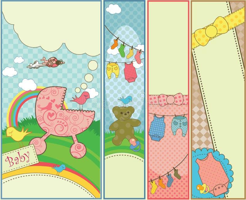 De reeks van verticale baby 4 themed banners vector illustratie