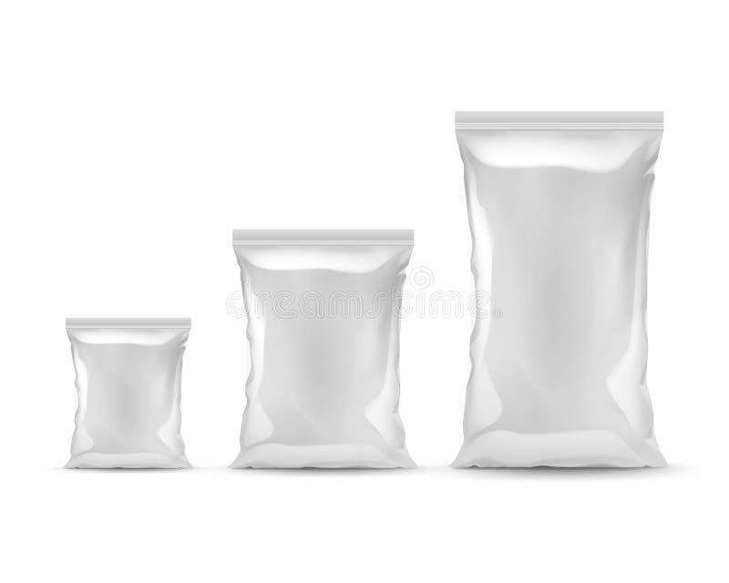 De reeks van Verzegelde Plastic Folie doet Verschillende Grootte in zakken stock illustratie