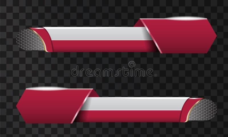 De reeks van Videokrantekoptitel of vermindert derde malplaatje Uniek bannerontwerp voor video vector illustratie
