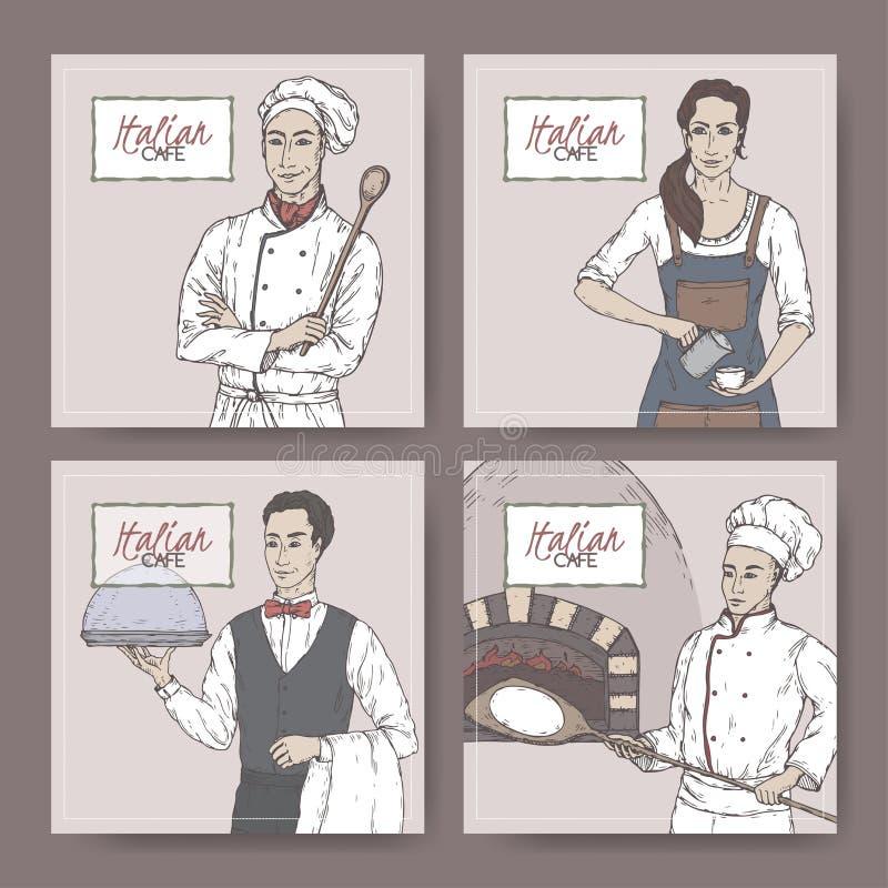 De reeks van vier kleurt Italiaanse koffie uitstekende etiketten met kok, bakkers, kelners en baristaschets stock illustratie