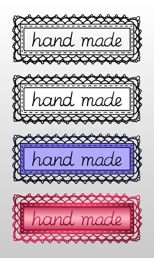 De reeks van vier overhandigt getrokken die emblemen of etiketten met de inschrijving ?hand - ?voor creatieve beroepsproducten wo stock illustratie