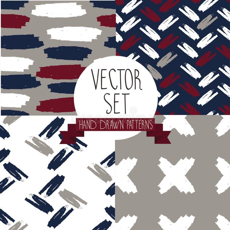 De reeks van vier overhandigt getrokken naadloze patronen stock illustratie