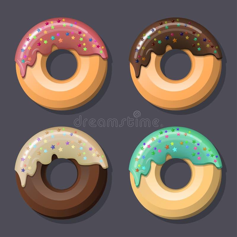 De reeks van vier roze verglaasd donuts met suikerglazuur en bestrooit De gekleurde tekening van de lijnkunst stock illustratie