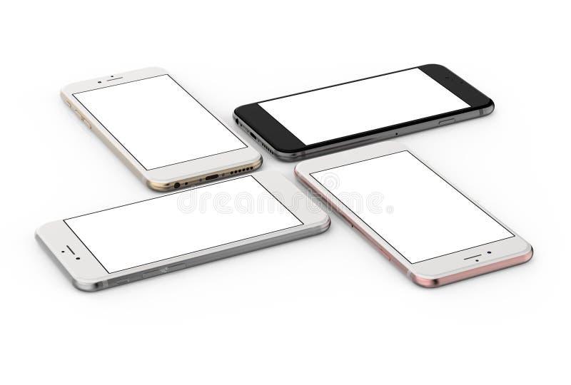 De reeks van vier smartphonesgoud, nam, zilver en zwarte toe stock foto's