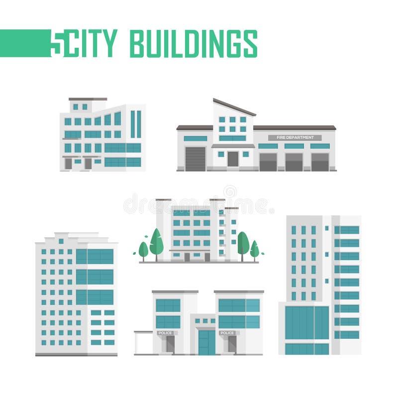 De reeks van vijf stadsgebouwen pictogrammen - vectorillustratie vector illustratie