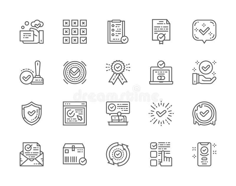 De reeks van Vinkje en keurt Lijnpictogrammen goed Certificaat, Kwaliteitscontrole en meer vector illustratie