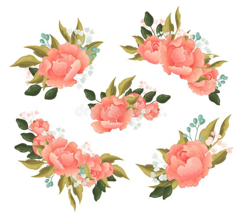De reeks van vrij roze nam bloemenelementen voor een ontwerpsjabloon met groene bladeren sierlijke bessen en de zomerbloesem toe stock illustratie