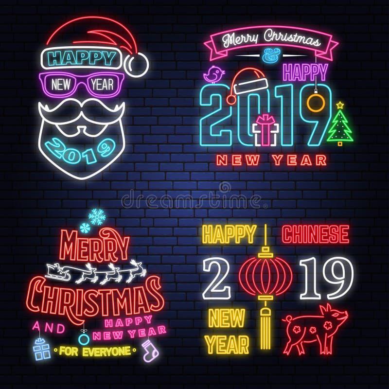 De reeks van Vrolijke Kerstmis en het Gelukkige het Nieuwjaarneon van 2019 ondertekenen met engelen, de Kerstman in ar met herten stock illustratie