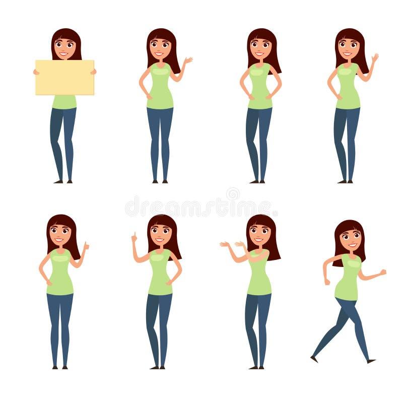 De reeks van vrouw, meisje in vrijetijdskleding in verschillend stelt Een karakter voor uw ontwerpproject Vectorillustratie in vl vector illustratie