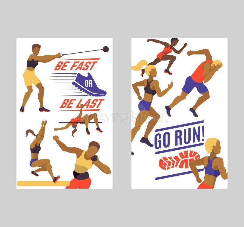 De reeks van de vrouwenatletiek van banners vectorillustratie r De vrouwencijfers leiden binnen op vector illustratie