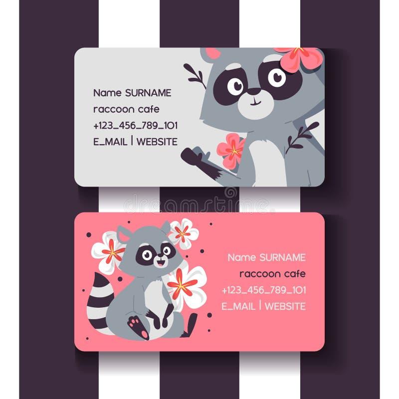 De reeks van de wasbeerkoffie van adreskaartjes vectorillustratie De leuke dieren van de beeldverhaalzitting met bloemen en takke vector illustratie