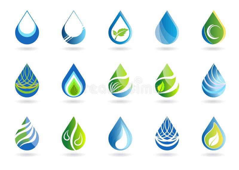 De reeks van water laat vallen symboolpictogram, embleem, de elementen vectorontwerp van aarddalingen royalty-vrije illustratie