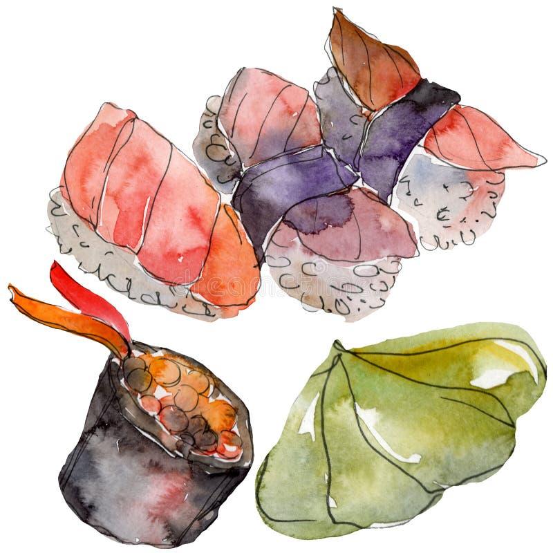 De reeks van waterverfsushi van mooie smakelijke Japanse sushiillustratie Hand getrokken die voorwerpen op witte achtergrond word vector illustratie