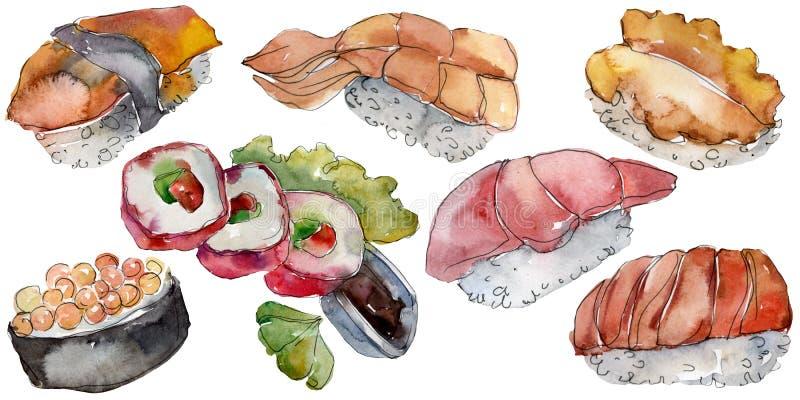 De reeks van waterverfsushi van mooie smakelijke Japanse voedselillustratie Hand getrokken die voorwerpen op witte achtergrond wo royalty-vrije stock foto's