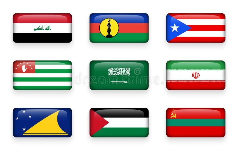 De reeks van wereld markeert rechthoekknopen Irak Nieuw-Caledonië Puerto Rico Abchazië In de schaduw gestelde hulpkaart iran Toke vector illustratie