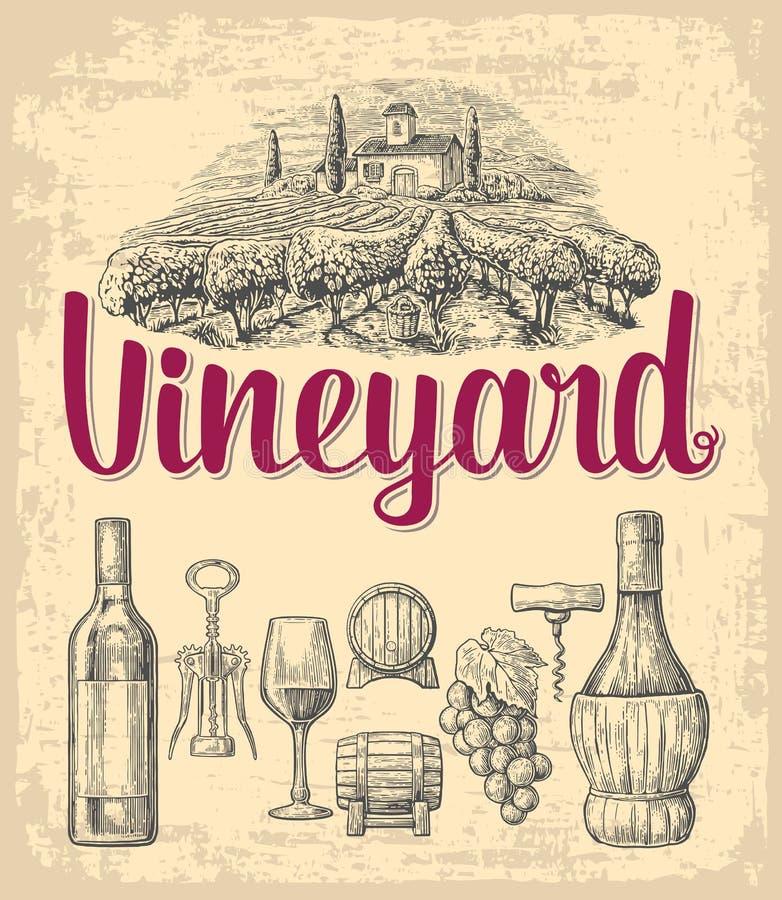 De reeks van de wijn Fles, glas, kurketrekker, vat, bos van druiven, wijngaard Zwarte uitstekende gegraveerde vectordieillustrati stock illustratie