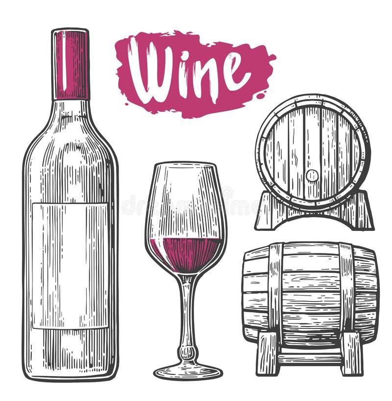 De reeks van de wijn Fles, glas, kurketrekker, vat Zwarte uitstekende gegraveerde vectordieillustratie op witte achtergrond wordt royalty-vrije illustratie