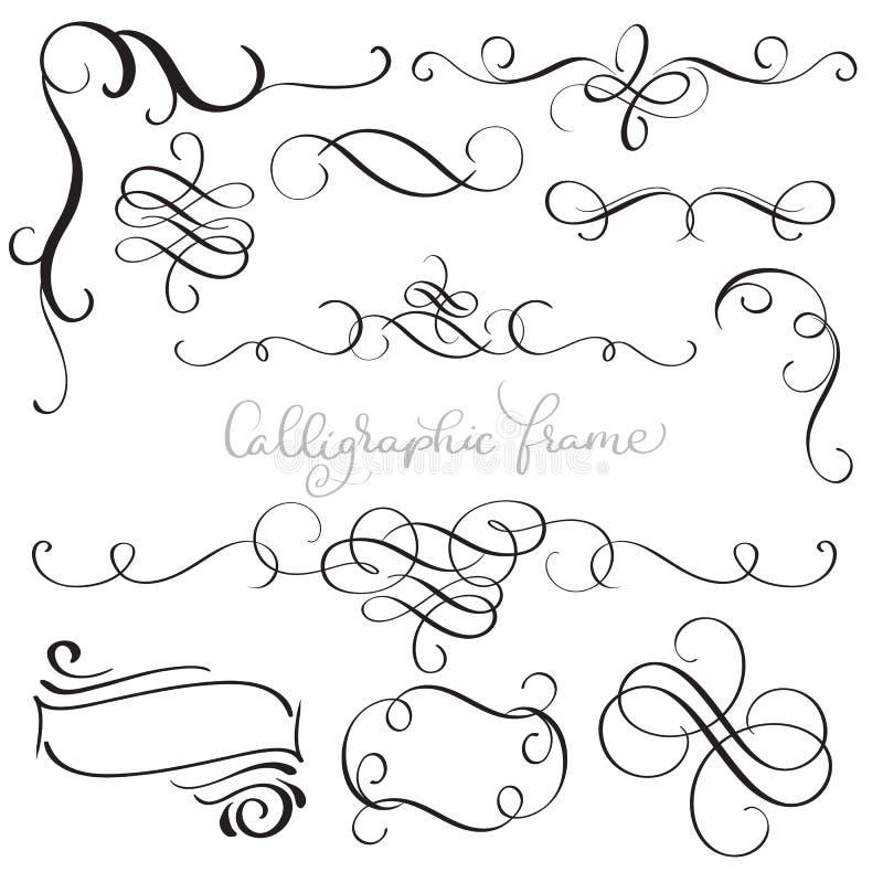 De reeks van wijnoogst bloeit decoratieve whorls van de kunstkalligrafie voor ontwerp Vector illustratie EPS10 vector illustratie