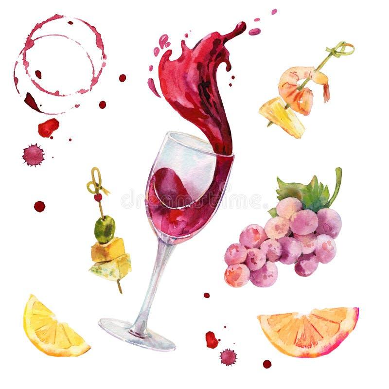 De reeks van de wijnwaterverf Glas rode wijn met wijnplons Druiven, kaas, vruchten en met de hand geschilderde wijnstaines en stock afbeeldingen
