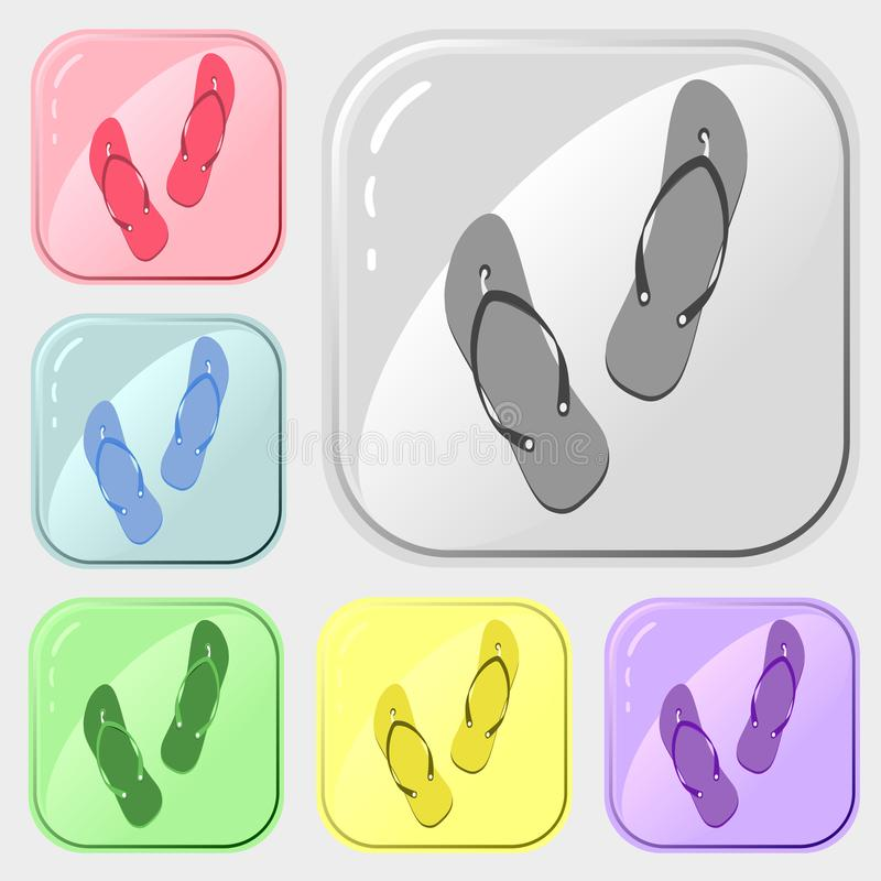 De reeks van wipschakelaarspictogrammen van kleurrijke inzameling 6 Het vector trekken op witte achtergrond Eenvoudig patroon voo royalty-vrije illustratie