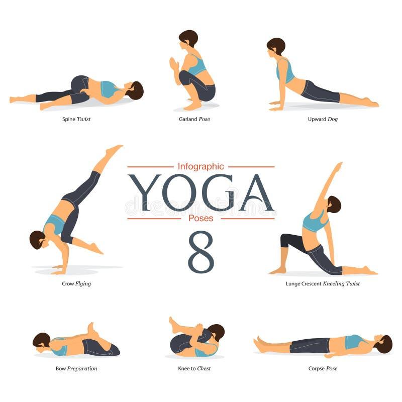 De reeks van yoga 8 stelt in vlak ontwerp De oefening van vrouwencijfers in sportkleding voor yogainfographics Vector stock illustratie