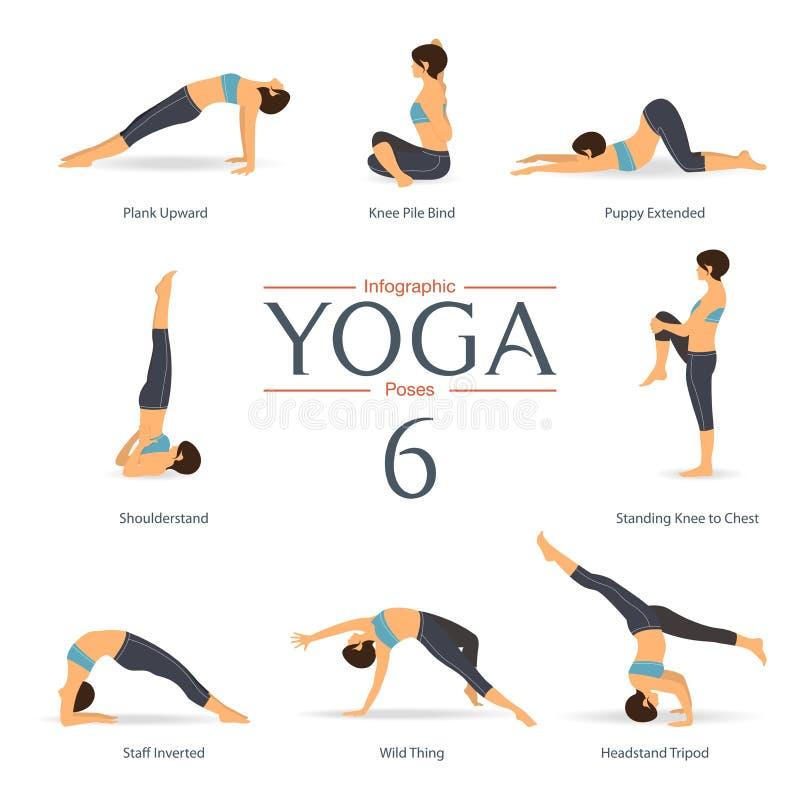 De reeks van yoga stelt in vlak ontwerp Yogainfographics Vector royalty-vrije illustratie