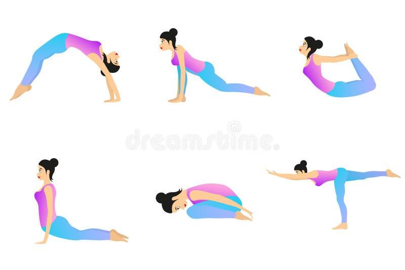 De Reeks van de yogabeweging vector illustratie