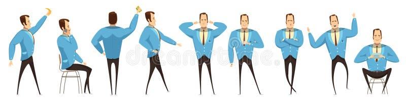 De Reeks van zakenmanin various poses stock illustratie