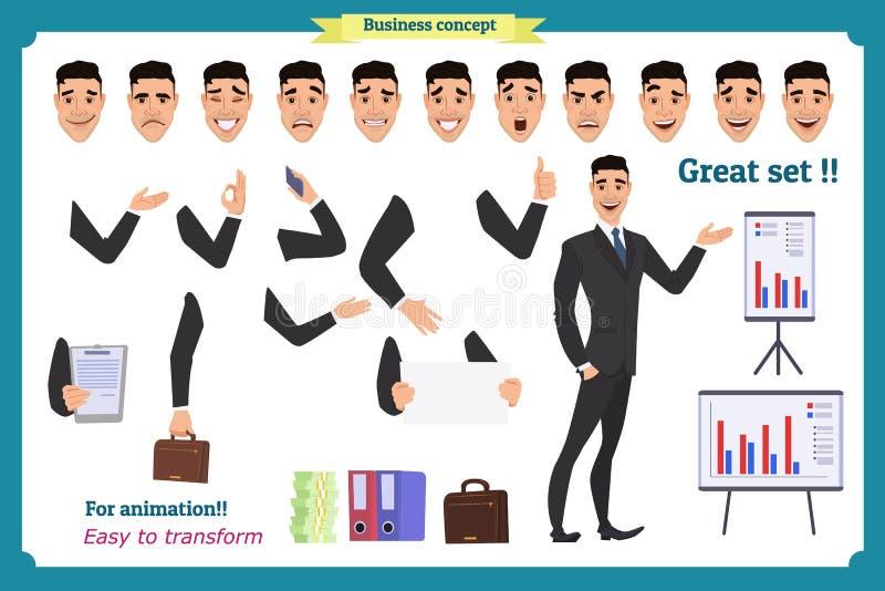 De reeks van zakenmankarakter stelt, gebaren, acties, lichaamselementen Geïsoleerd op wit stock illustratie