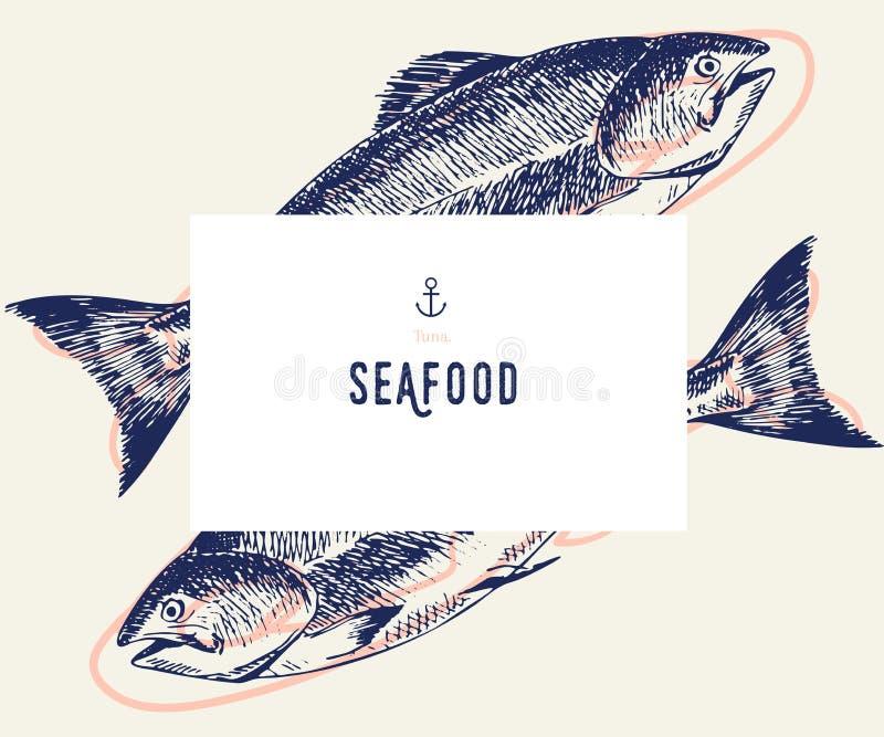 De reeks van de zeevruchtenbanner Hand getrokken tonijnvissen Vectorrestaurantmenu Mariene voedselbanner, vliegerontwerp Gegravee stock illustratie
