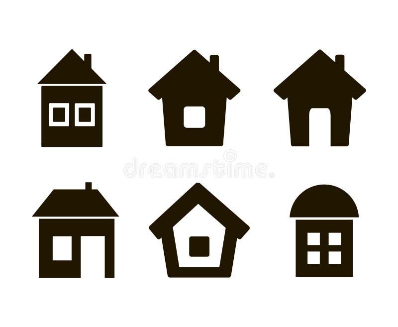 De reeks van zes pictogrammen huisvest zwarte royalty-vrije stock afbeelding
