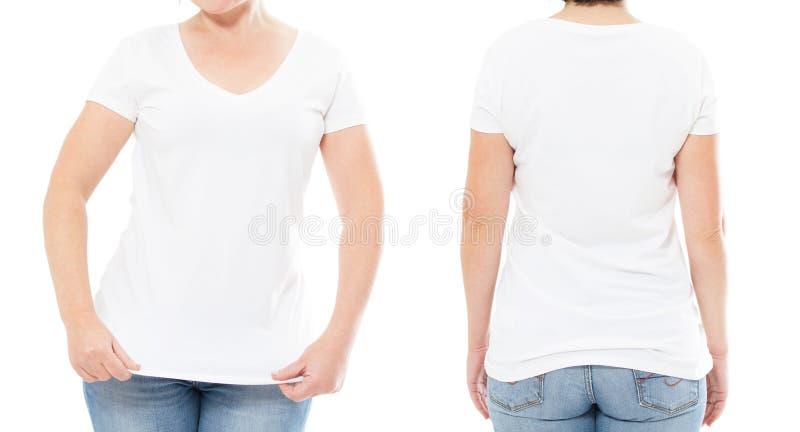 De reeks van de de zomert-shirt die op wit, vrouwent-shirt, meisjest-shirt wordt geïsoleerd, bebouwde beeld royalty-vrije stock afbeelding