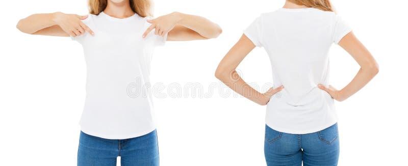 De reeks van de de zomert-shirt op wit, vrouw wordt geïsoleerd richtte op t-shirt, meisjespunt op t-shirt, bebouwd beeld dat royalty-vrije stock foto