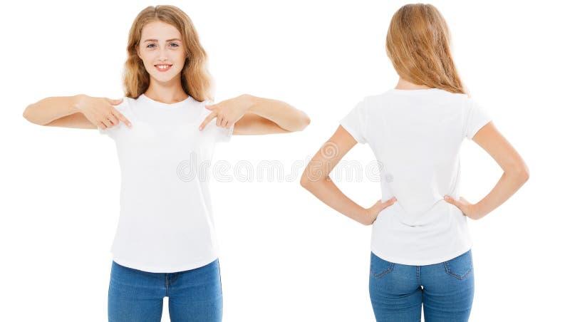 De reeks van de de zomert-shirt op wit, vrouw wordt geïsoleerd richtte op t-shirt, meisjespunt op t-shirt die royalty-vrije stock afbeelding