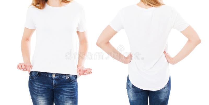 De reeks van de de zomert-shirt op wit, vrouw wordt ge?soleerd richtte op t-shirt, meisjespunt op t-shirt die royalty-vrije stock foto's