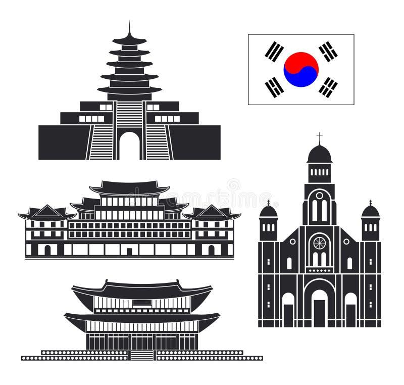 De reeks van Zuid-Korea De geïsoleerde architectuur van Zuid-Korea op witte achtergrond royalty-vrije illustratie