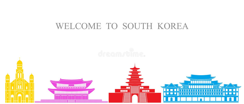 De reeks van Zuid-Korea De geïsoleerde architectuur van Zuid-Korea op witte achtergrond vector illustratie