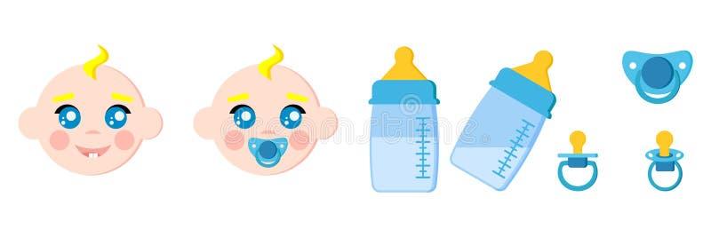De reeks van zuigelingskind ziet pictogrammen, zuigflessen met melk onder ogen, de modellen van de fopspenenbaby, uitsteeksel royalty-vrije illustratie