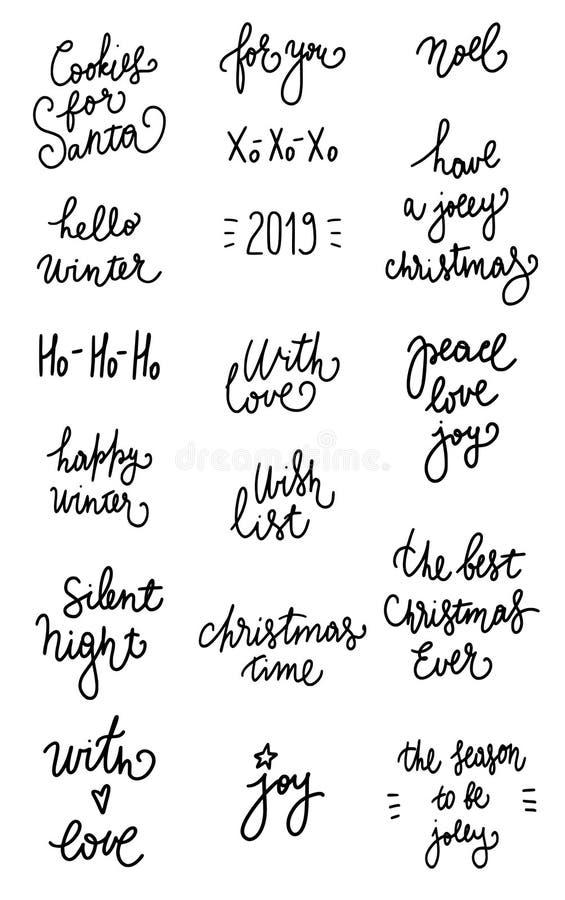 De reeks van 18 zwarte inktkerstmis en de gelukkige nieuwe vakantie van de jaarviering overhandigen het van letters voorzien cita vector illustratie