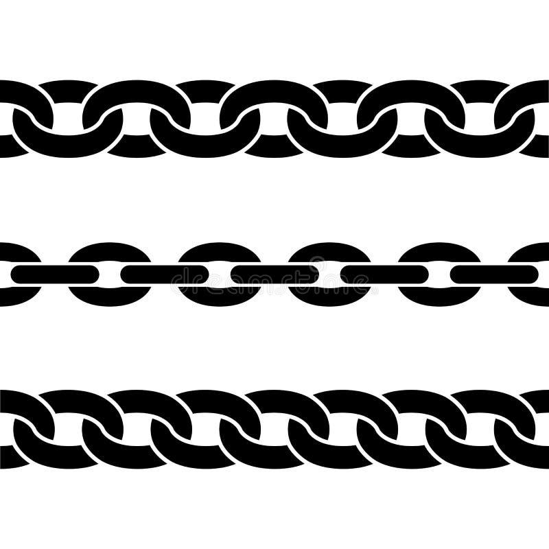 De reeks van zwarte isoleerde silhouetten van kettingen op witte achtergrond Naadloos patroon van ketting Decoratieve Grens vector illustratie
