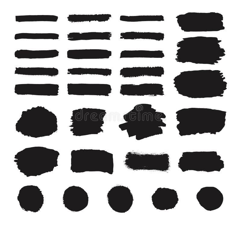 De reeks van de zwarte verf van de grungehand, ronde vormen, strepen, de slagen van de inktborstel, hand getrokken textuur schild stock illustratie