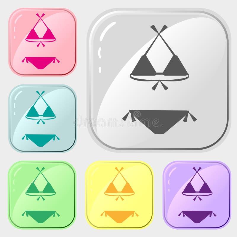 De reeks van zwempakkenpictogrammen van kleurrijke inzameling 6 Het vector trekken op witte achtergrond Eenvoudig patroon voor on royalty-vrije illustratie