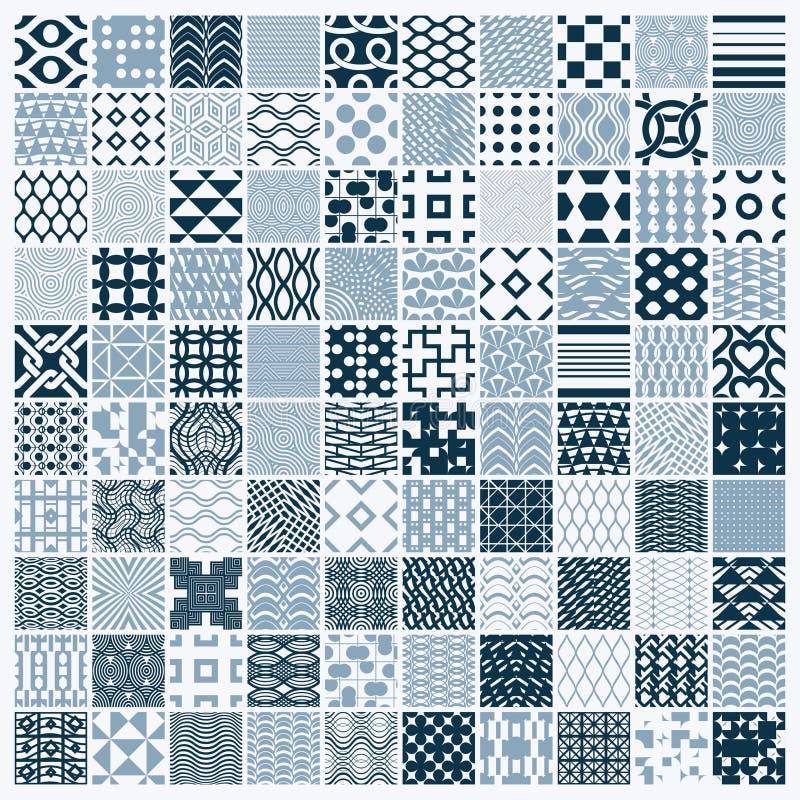 De reeks vector eindeloze geometrische patronen stelde met verschillende cijfers zoals ruiten, vierkanten en cirkels samen Grafis stock illustratie