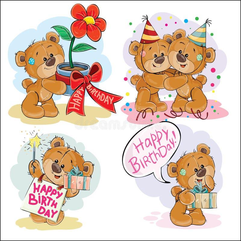 De reeks vectorillustraties van de klemkunst van bruine teddybeer wenst u een gelukkige verjaardag stock illustratie