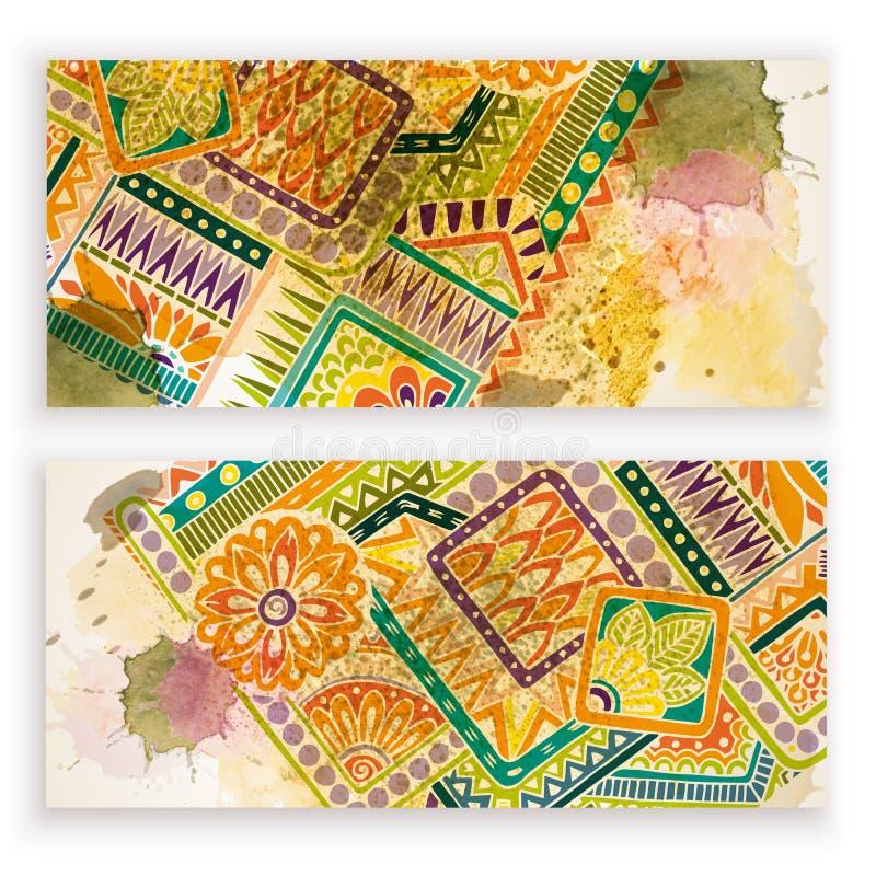 De reeks vectormalplaatjebanners met waterverf schildert abstracte hand getrokken bloemen als achtergrond en krabbel vector illustratie