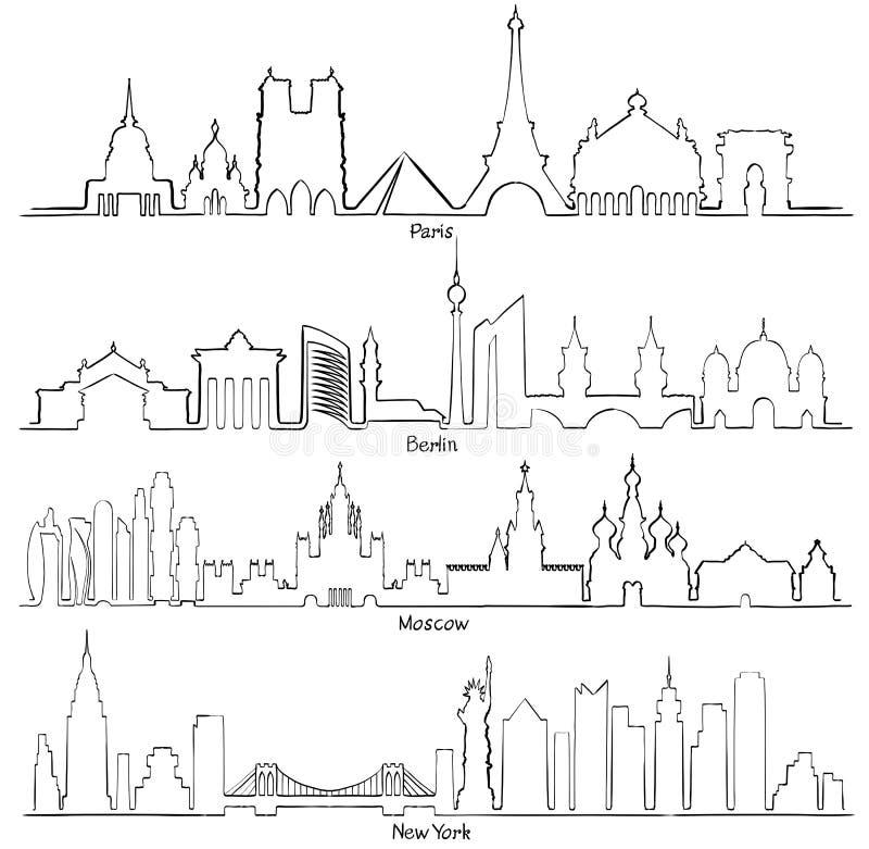 De reeks vectorsteden silhouetteert Parijs, Berlijn, Moskou en Nieuw Y stock illustratie