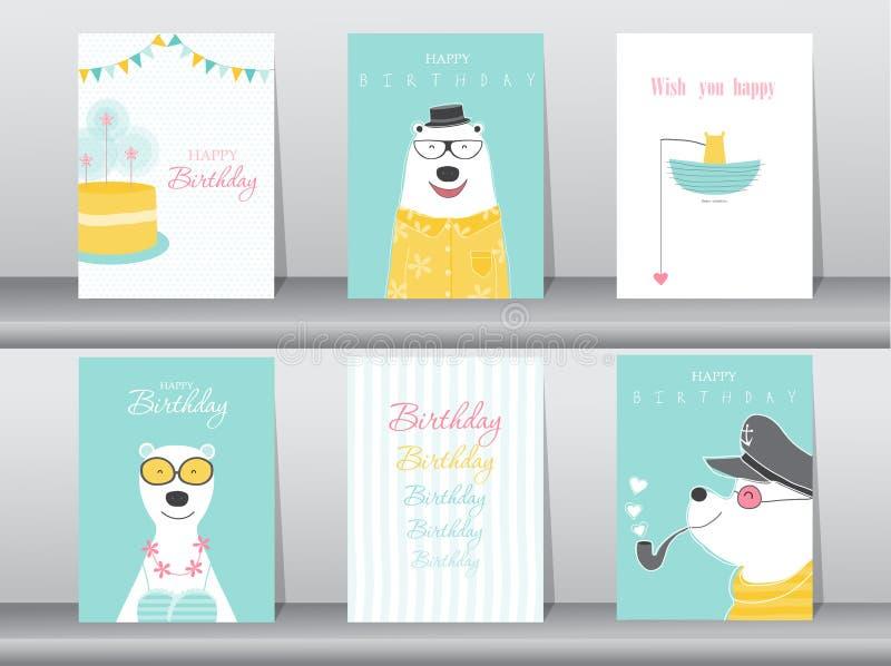 De reeks verjaardagskaarten, affiche, uitnodigingskaarten, malplaatje, groetkaarten, dieren, draagt, Vectorillustraties vector illustratie