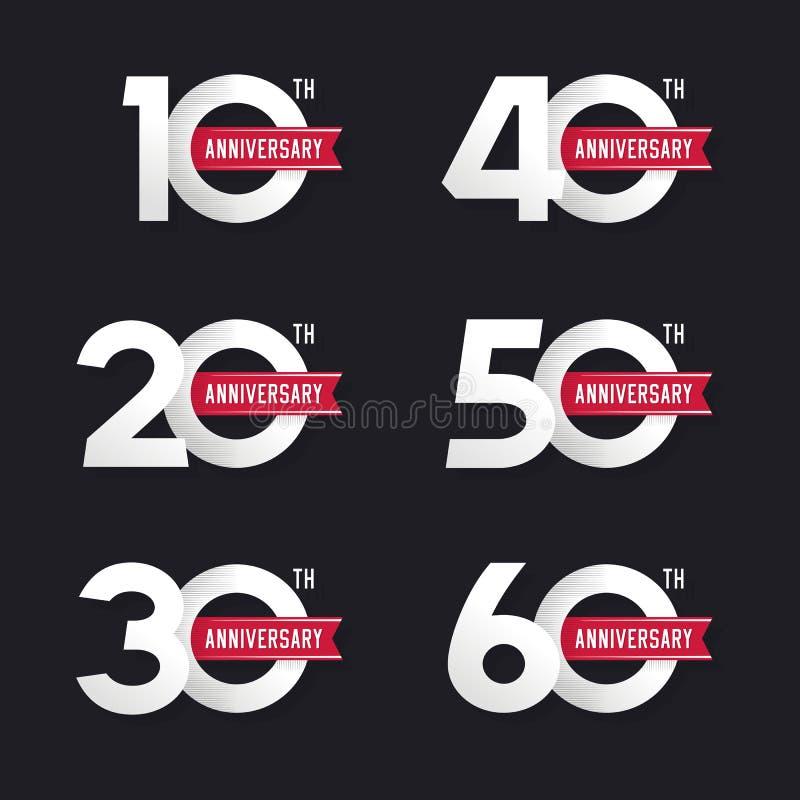 De reeks verjaardagstekens van tiende tot zestigste vector illustratie