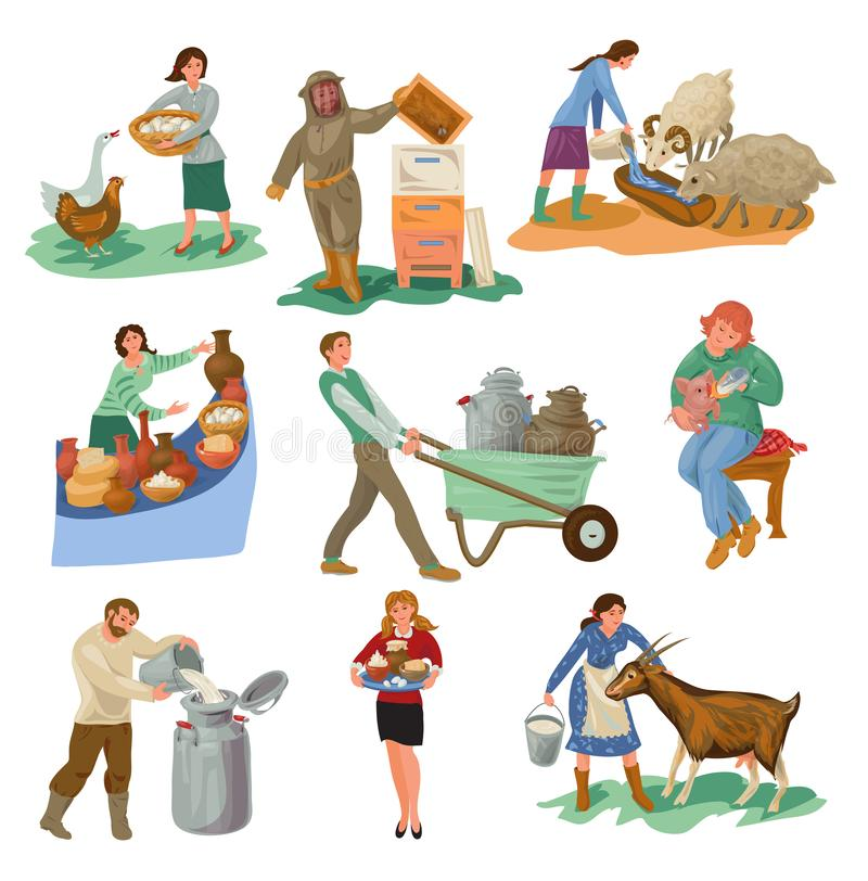 De reeks verschillende karakters van landbouwersmensen is de dieren van het voerlandbouwbedrijf vector illustratie