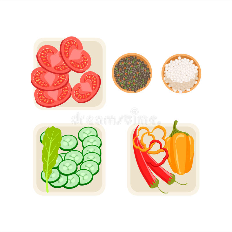 De reeks Verse Groenteingrediënten sneed en trof voor het Koken in Drie Platen met Zout en Peper Vectorillustratie voorbereidinge vector illustratie